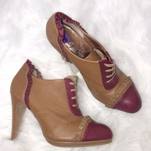 Miss Albright Anthropologie Ruffle Lace Up Booties